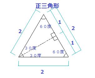 正三角形を半割りした図
